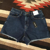 Express Womens Midi High Rise Raw Hem Denim Jean Shorts Size 4 Nwt New Blue Photo