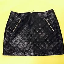 Express Women's Mini Skirt Size 2 Solid Black 100% Polyester Half Zip Pocket Euc Photo