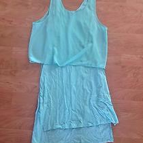 Express Women's Mint Green Size Medium Stretch Dress With Crop Style Top Photo