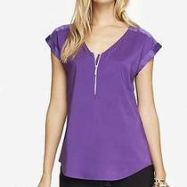 Express Women's Mixed Texture Zip Front Blouse Silky Top - Purple - Size Small Photo