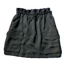 Express Women's Olive Green Paper Bag Elastic Waist Skirt Size Xs Photo