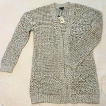 Express Women's Open Front Cardigan Sweater With Pockets b&w Size M Nwt  Photo