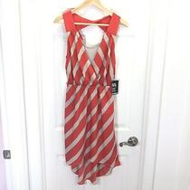 Express Women's Orange Stripes Sleeveless Hi - Low Hem Summer Dress Size S Nwt Photo