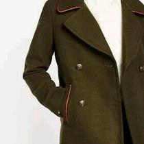 Express Women's Peacoat Jacket in Olive Green With Red Piping- Size Xs Photo