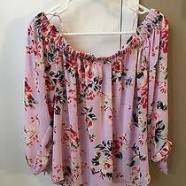 Express Women's Pink Floral Off the Shoulders Top Size Large Photo