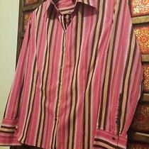 Express Womens Pink Long Sleeve Multicolored Striped Shirt Top Blouse Size 12 Photo