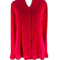 Express Women's Pink Red Button Down Long Sleeve Portofino Shirt Size Xs Photo