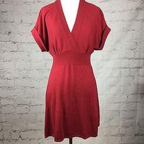Express Women's Red Short Sleeve Sweater Dress Vneck Size Small Photo