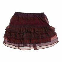 Express Women's Ruffled Skirt Size Xs  Maroon  Polyester Photo