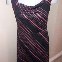 Express Women's S 5/6 Dress Pink Black Striped Drape Neck Sleeveless Pretty Photo
