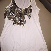 Express Women's Sequin Gold Silver Copper Ivory Tank Xs  Photo