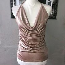 Express Women's Shimmer Ruched Sleeveless Blush Pink Halter Top Size Small Photo