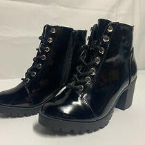 Express Womens Shoe Size 7 Black Booties Lace Up With Buckle Zip Boots 4 Heels Photo