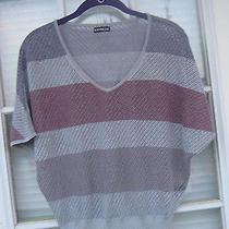 Express Women's Short Sleeve Knit Metallic v-Neck Striped Top Photo