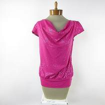 Express Women's Short Sleeve Sequin Blouse Top Size S Small Pink  Photo