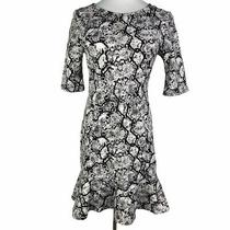 Express Women's Size 8 Black Gray Snakeskin Print Half Sleeve Ruffle Flare Dress Photo
