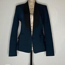 Express Womens Size 8 Medium Navy Blue Black Long Lapel Blazer Photo