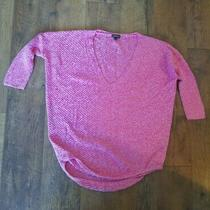 Express Women's Size Medium Sweater Top 3/4 Sleeves Pink White v-Neck Knit  Photo