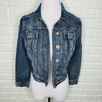 Express Womens Size Small Denim Jean Jacket Distressed Cropped Medium Wash Photo
