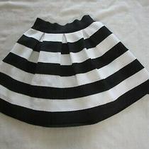 Express women.s Size Small  Skirt Skater Flare Black White Stripes Preowned Photo