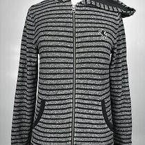 Express Women's Size Xs Black Gray Striped Hooded Zip Front Jacket  Photo