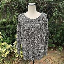 Express Women's Size Xs Black White Cable Knit Oversized Chunky Sweater Photo