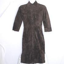 Express Womens Size1-2 Brown Bracelet-Length-Sleeve Mid-Calf Shirt Suede Dress Photo