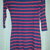 Express Women's Small Red and Navy Striped Dress Vguc Photo
