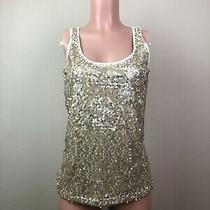 Express Women's Small S Brown-Cream Sequined Sleeveless Cotton Blend Tank Top Photo