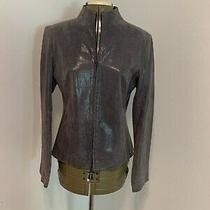 Express Women's Snakeskin Embossed Genuine Leather Jacket Gray - Size S/m Zipper Photo