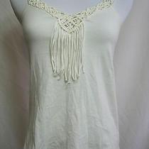 Express Women's Solid Cream White Sleeveless Tank Top Embellished Cotton Size Xs Photo