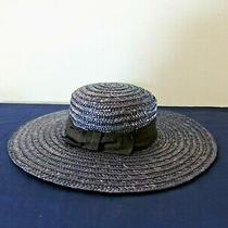 Express Womens Straw Hat Dark Blue Wide Brim Ribbon Bow Panama Made in Italy Photo