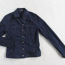 Express Women's Stretch Cotton L/s Button Down Navy Blue Blazer Jacket - Small Photo