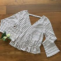 Express Women's Striped Bell Sleeves Top Off White With Soft Mauve Stripes Xs Photo