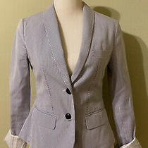 Express Womens Striped Blazer Jacket 2 Button Size 2 Blue Photo