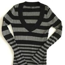 Express Women's Sweater Long Sleeve v-Neck Black & Gray Striped Size (M) Euc Photo