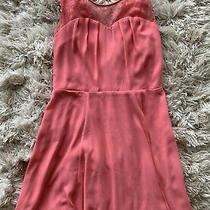 Express Womens Sz 2 Dark Peach Sweetheart Neck Cocktail Dress Fit Flare Lace Photo