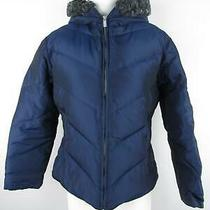 Express Women's Sz M Blue Nylon Quilted Full Zip Down Insulated Parka Jacket Photo
