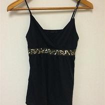 Express Women's Sz Xs Black Cotton Blend Sequin Tank Top  Photo