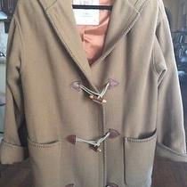 Express Women's Tan Long Hooded Lined Coat With Wood Buttons Wool Blend Sz Small Photo