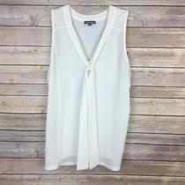 Express Women's Tank Top Size Small Ivory Tie Neckline Sleeveless Photo