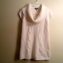 Express Women's Turtleneck Solid White Cable Sweater Wool Small Euc Photo