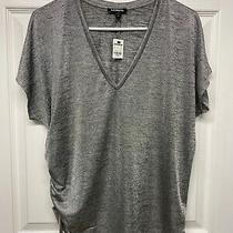 Express Women's v-Neck Cinched Dolman Tee T-Shirt Top S Metallic Gray Nwt Photo