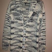 Express Women Shawl Collar Black White Blend Button Down Cardigan Size S Photo