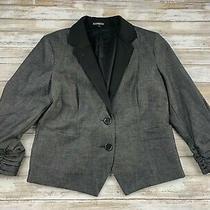 Express Women Size 12 Gray & Black 2 Button Blazer Sport Coat Euc Photo