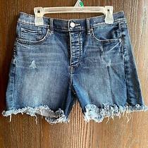 Express Women Size 8 Jean Shorts Midi Vintage High-Rise Button Fly Stretch Photo