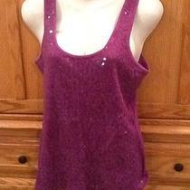 Express Women' Size L Purple Sequin Tank Top 100% Cotton Euc Photo
