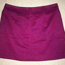Express Women Solid Magenta Mini Skirt Size 1/2 100%Polyester Photo