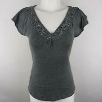 Express Women Sz S Gray Sexy Basic Heather Rhinestone Ruched v-Neck Blouse Top Photo