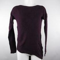 Express Women Sz S Purple Hi Low Ribbed Crew Neck Asymmetrical Pullover Sweater Photo